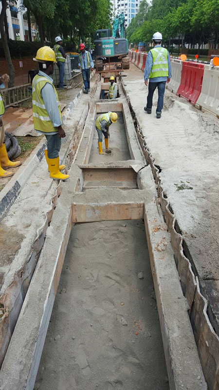 Trench backfilling.