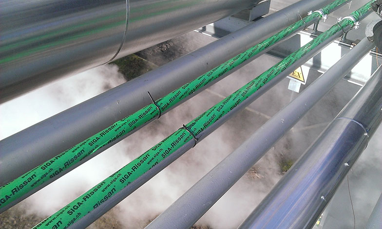 Installation onto the pipes using a protecting tape